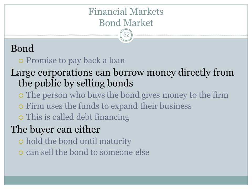Financial Institutions 51 The financial system is made up of institutions that Coordinate individuals who are saving and individuals who are investing