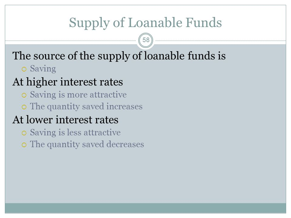 Market for Loanable Funds 57 Because the economy has many types of financial institutions There are many different interest rates All are determined t