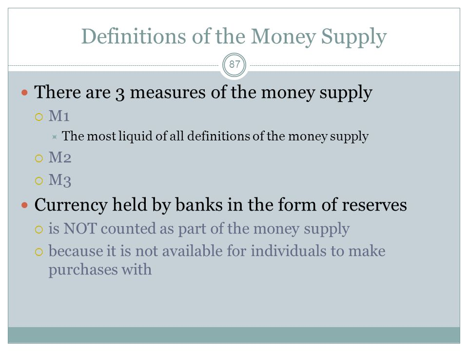 86 Liquidity The ease of an assets ability to be converted to cash An asset is completely liquid if one can spend it now