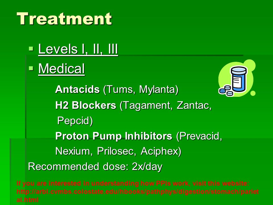 Treatment Levels I, II, III Levels I, II, III Medical Medical Antacids (Tums, Mylanta) H2 Blockers (Tagament, Zantac, Pepcid) Pepcid) Proton Pump Inhi