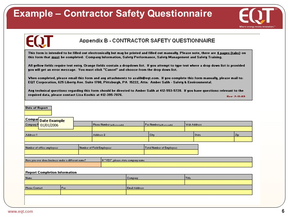 www.eqt.com 5 Example – Specification Sheet