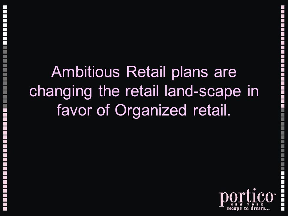 Ambitious Retail plans are changing the retail land-scape in favor of Organized retail.