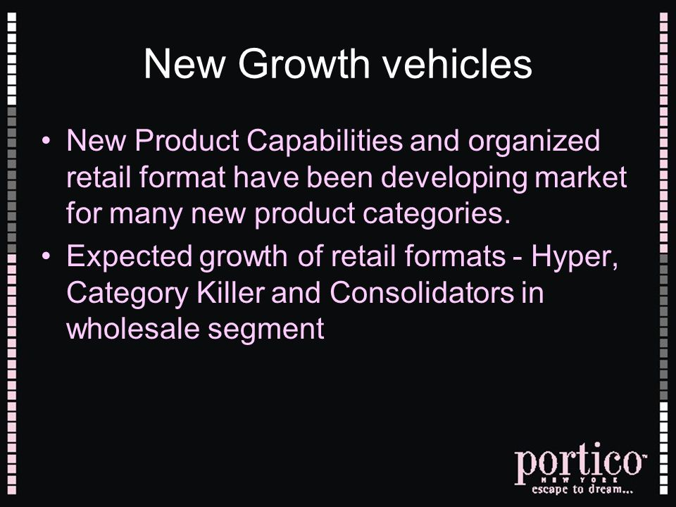 New Growth vehicles New Product Capabilities and organized retail format have been developing market for many new product categories.
