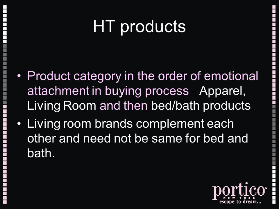 HT products Product category in the order of emotional attachment in buying process - Apparel, Living Room and then bed/bath products. Living room bra