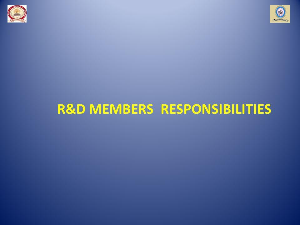 R&D MEMBERS RESPONSIBILITIES