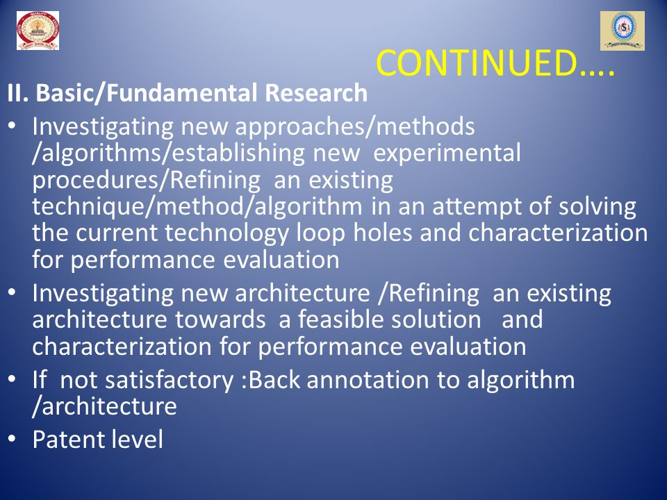 CONTINUED…. II. Basic/Fundamental Research Investigating new approaches/methods /algorithms/establishing new experimental procedures/Refining an exist