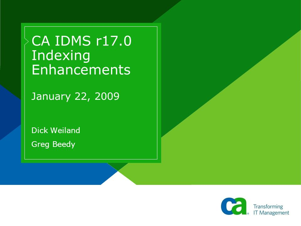 CA IDMS r17.0 Indexing Enhancements January 22, 2009 Dick Weiland Greg Beedy