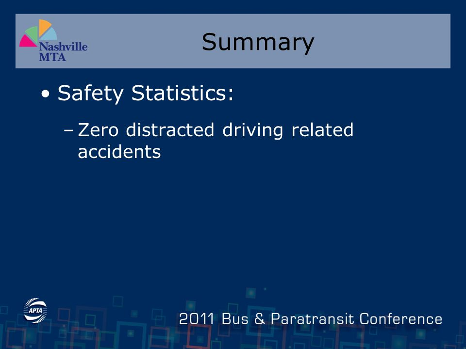 Summary Safety Statistics: –Zero distracted driving related accidents