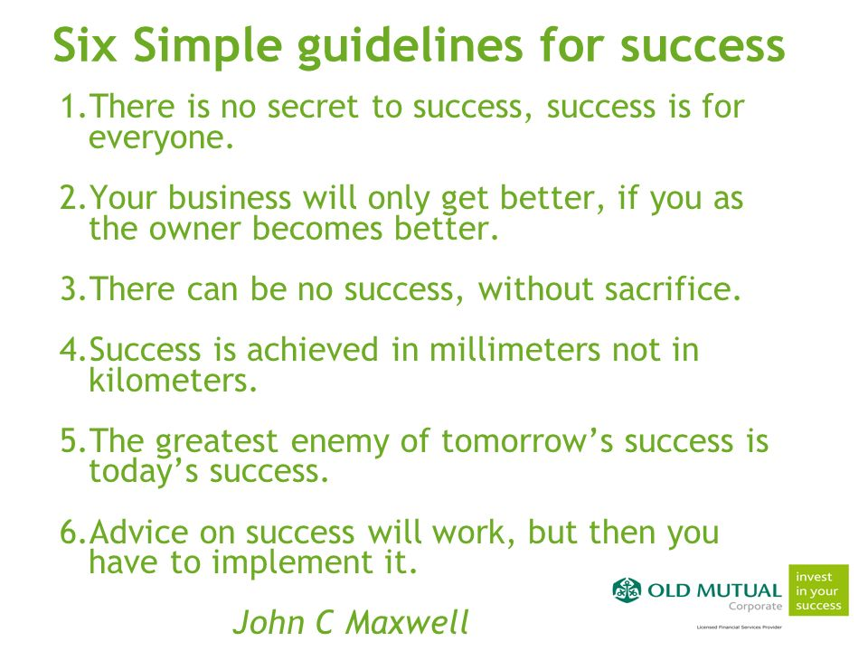 simple solutions for success simple solutions for success simple solutions for success Six Simple guidelines for success 1.There is no secret to success, success is for everyone.