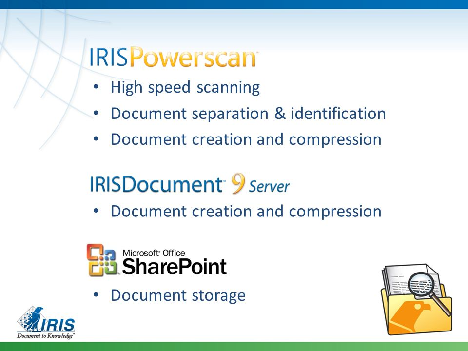 High speed scanning Document separation & identification Document creation and compression Document storage