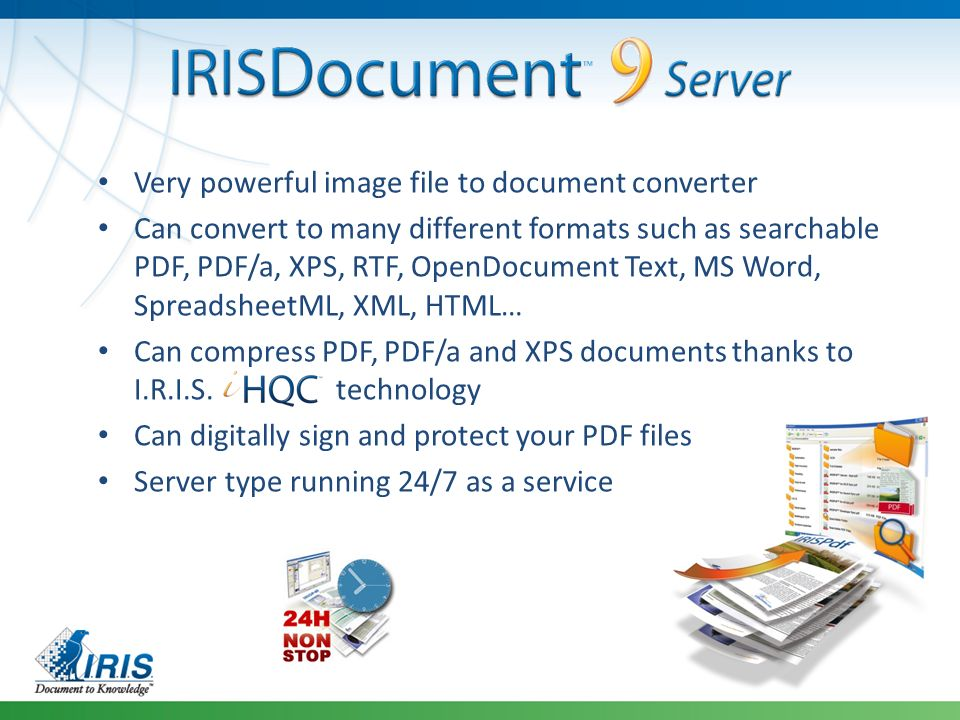 Very powerful image file to document converter Can convert to many different formats such as searchable PDF, PDF/a, XPS, RTF, OpenDocument Text, MS Wo