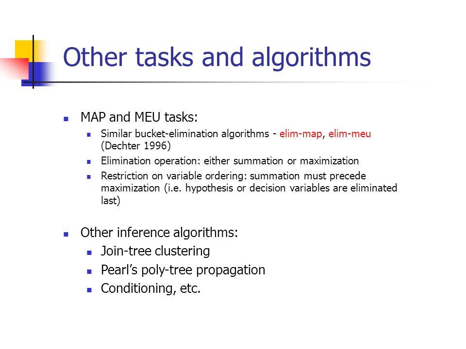 Other tasks and algorithms MAP and MEU tasks: Similar bucket-elimination algorithms - elim-map, elim-meu (Dechter 1996) Elimination operation: either