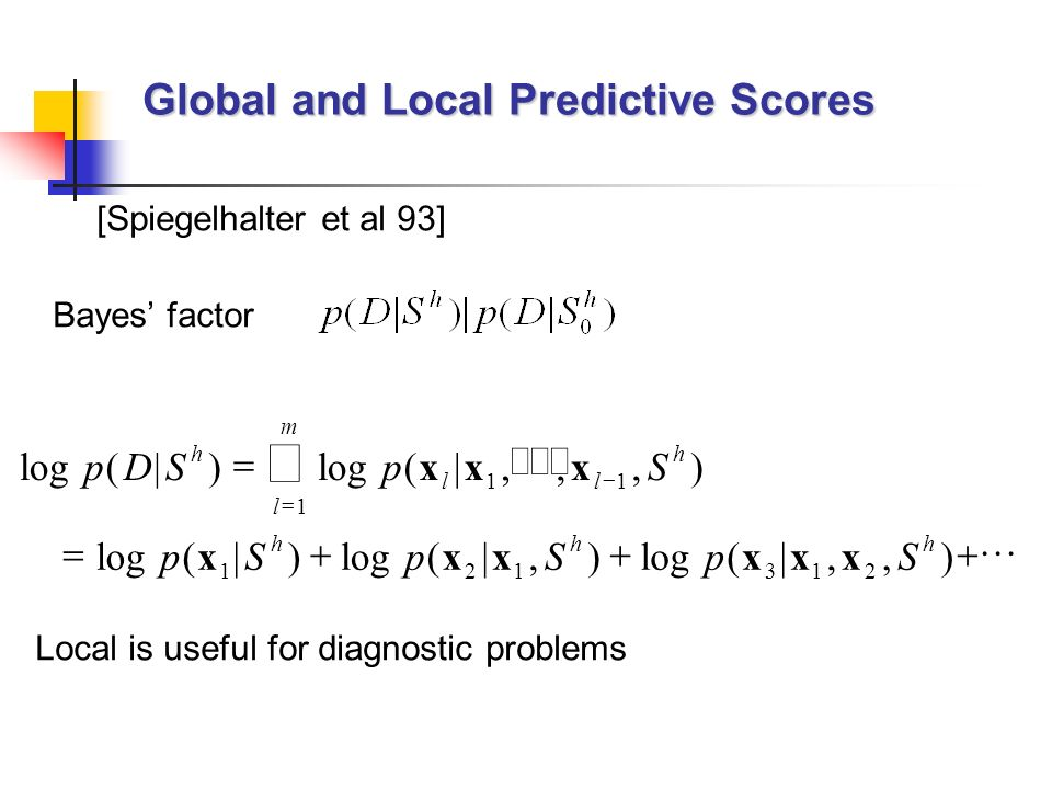Global and Local Predictive Scores [Spiegelhalter et al 93] log(|) (|,,,) (|) (|,) (|,,) pDSpS pSpSpS h ll h l m hhh xxx xxxxxx 11 1 121312... Bayes f