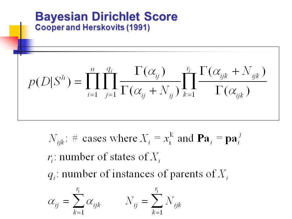 Bayesian Dirichlet Score Cooper and Herskovits (1991)