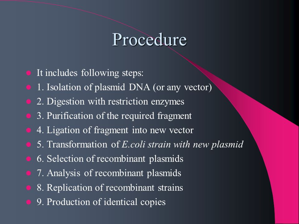 Procedure It includes following steps: 1. Isolation of plasmid DNA (or any vector) 2. Digestion with restriction enzymes 3. Purification of the requir