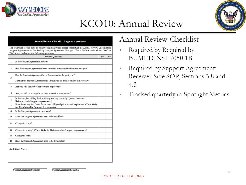 FOR OFFICIAL USE ONLY KCO10: Annual Review Annual Review Checklist Required by Required by BUMEDINST 7050.1B Required by Support Agreement: Receiver-S