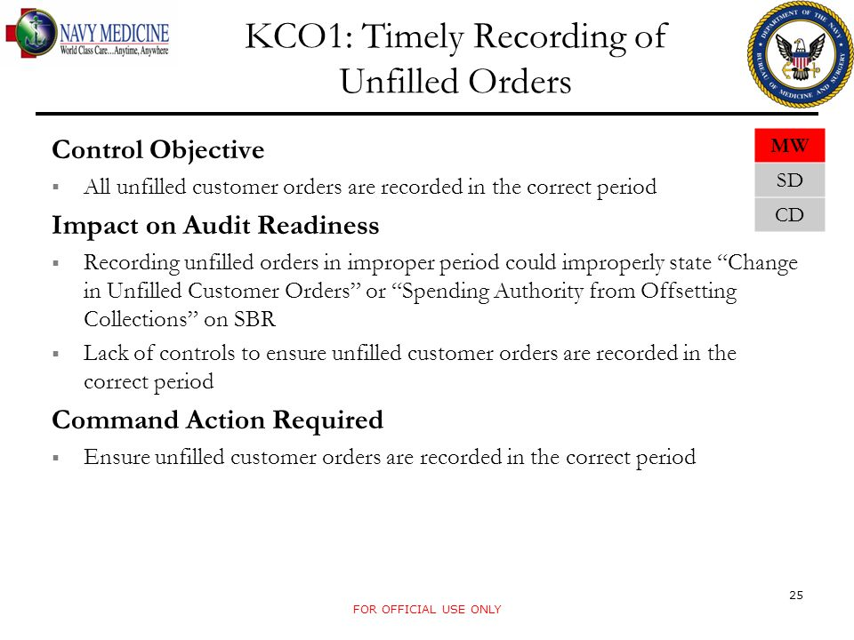 FOR OFFICIAL USE ONLY KCO1: Timely Recording of Unfilled Orders Control Objective All unfilled customer orders are recorded in the correct period Impa