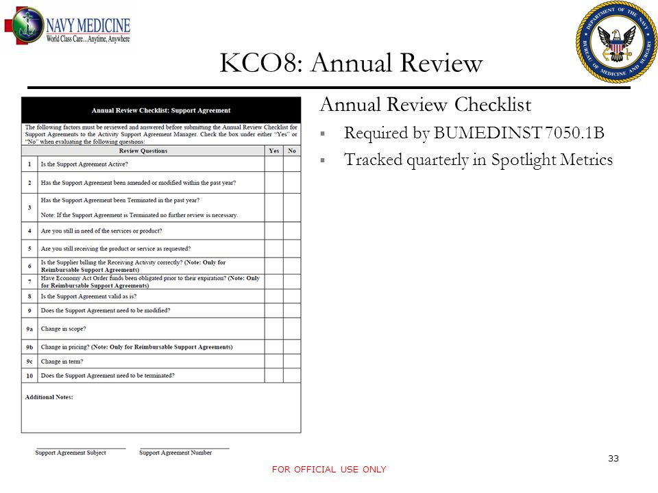 FOR OFFICIAL USE ONLY KCO8: Annual Review Annual Review Checklist Required by BUMEDINST 7050.1B Tracked quarterly in Spotlight Metrics 33
