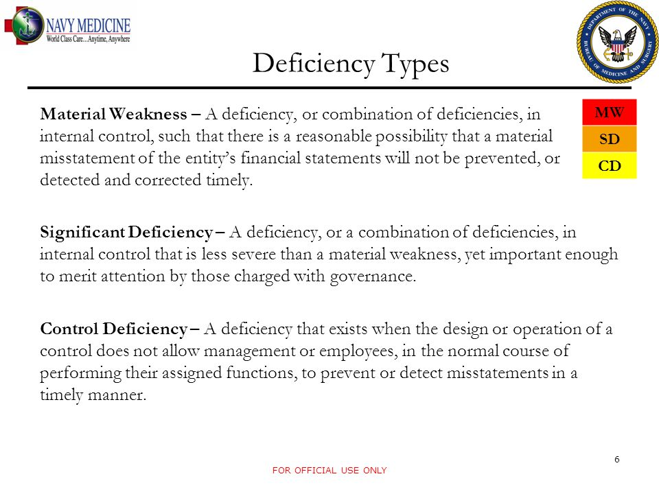 Considerations For Deficiency Type FOR OFFICIAL USE ONLY 7 Quantitative Materiality – Dollar impact or potential impact to the financial statements Qualitative Materiality – Non-quantitative factors such as complexity of transactions, legal or regulatory concern or system deficiencies Pervasiveness – Number of activities or transactions affected by the deficiency Audit Dealbreaker – Issues that prevent an audit from occurring Existing Guidance – Determining whether current policy or Standard Operating Procedure (SOP) is in place that meet financial reporting requirement