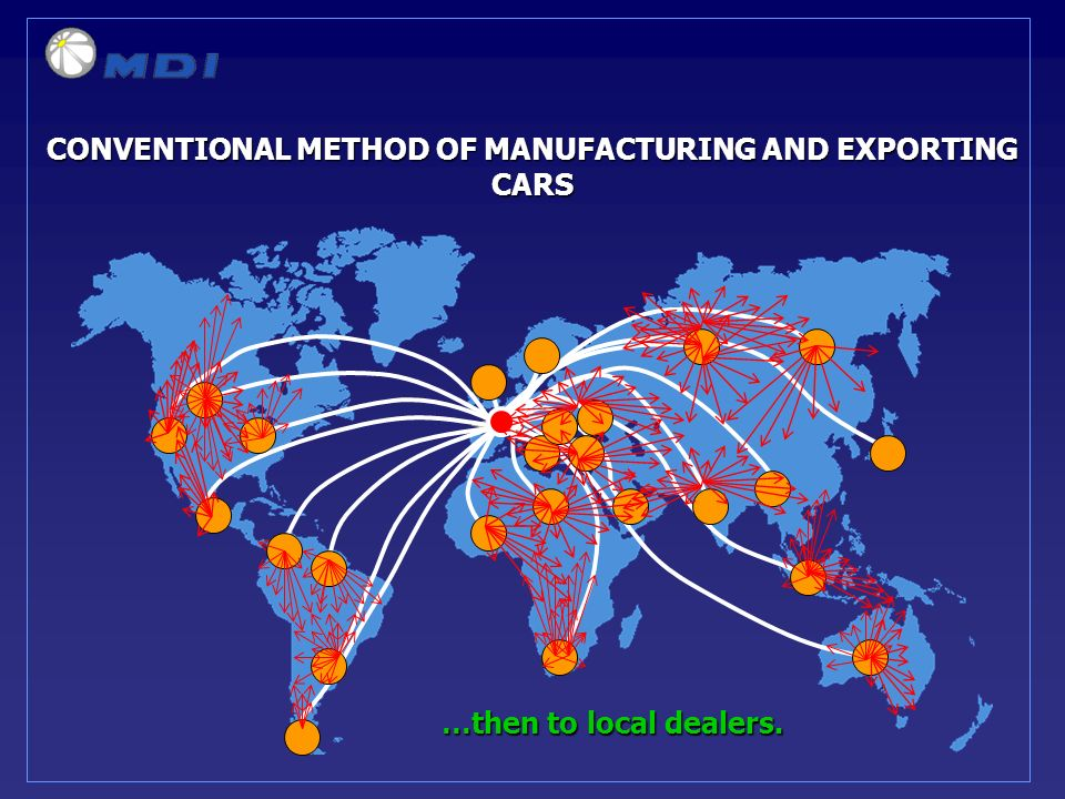 …then to local dealers. CONVENTIONAL METHOD OF MANUFACTURING AND EXPORTING CARS