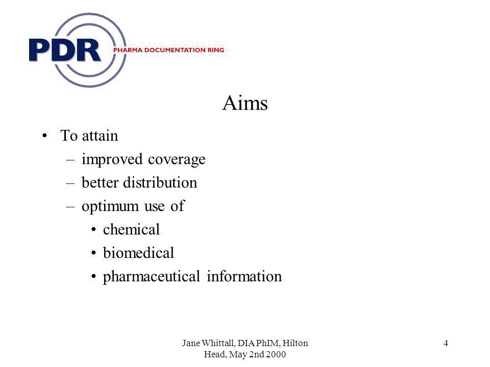 4 Aims To attain –improved coverage –better distribution –optimum use of chemical biomedical pharmaceutical information