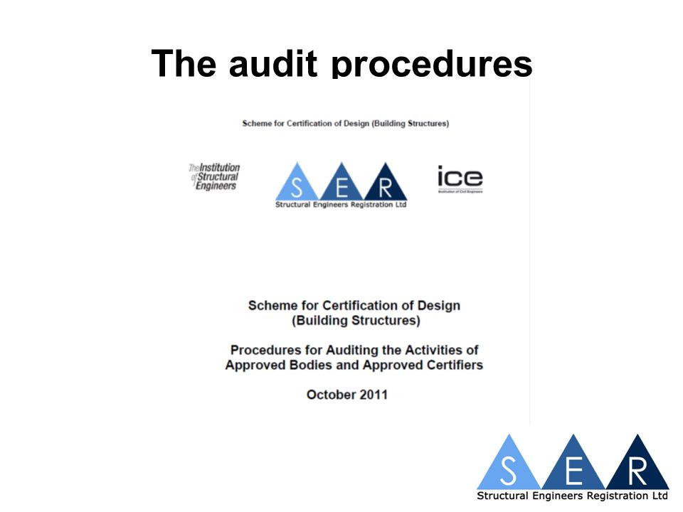 The audit process SER assign a team consisting of two auditors Lead auditor agrees date for audit Lead auditor selects projects for audit SER advises which projects are to audited Audit is conducted Audit findings discussed at closing meeting It is important that the auditors/auditee agree that the findings are accurate at the closing meeting
