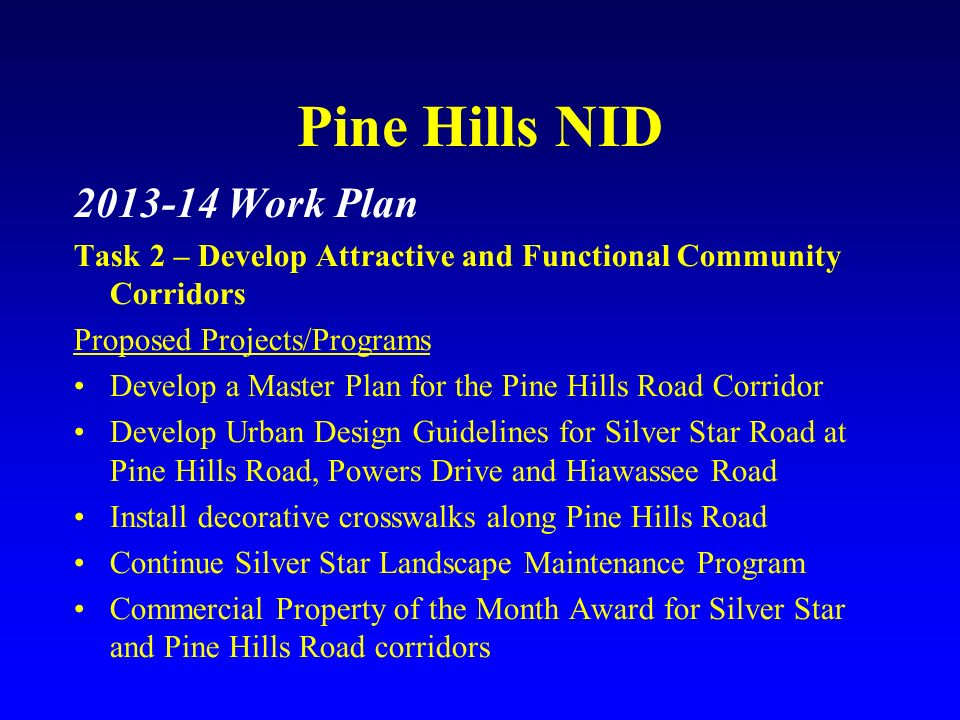 Pine Hills NID 2013-14 Work Plan Task 2 – Develop Attractive and Functional Community Corridors Proposed Projects/Programs Develop a Master Plan for t