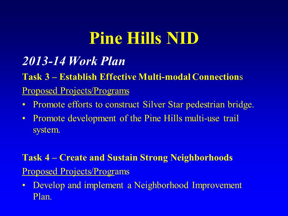 Pine Hills NID 2013-14 Work Plan Task 3 – Establish Effective Multi-modal Connections Proposed Projects/Programs Promote efforts to construct Silver S