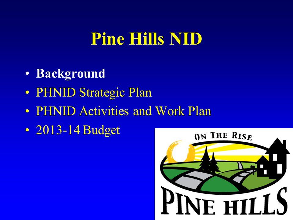 Pine Hills NID Background PHNID Strategic Plan PHNID Activities and Work Plan 2013-14 Budget