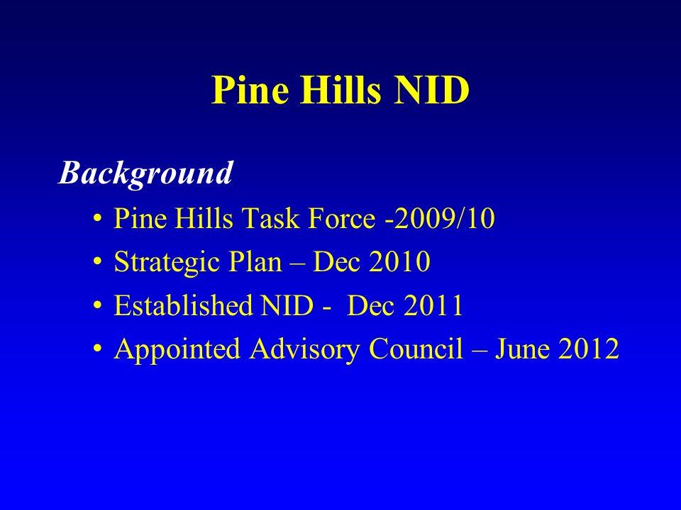 Pine Hills NID Background Pine Hills Task Force -2009/10 Strategic Plan – Dec 2010 Established NID - Dec 2011 Appointed Advisory Council – June 2012