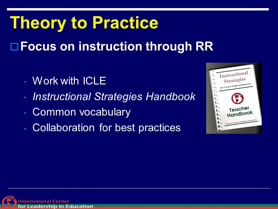 Theory to Practice Focus on instruction through RR Work with ICLE Instructional Strategies Handbook Common vocabulary Collaboration for best practices