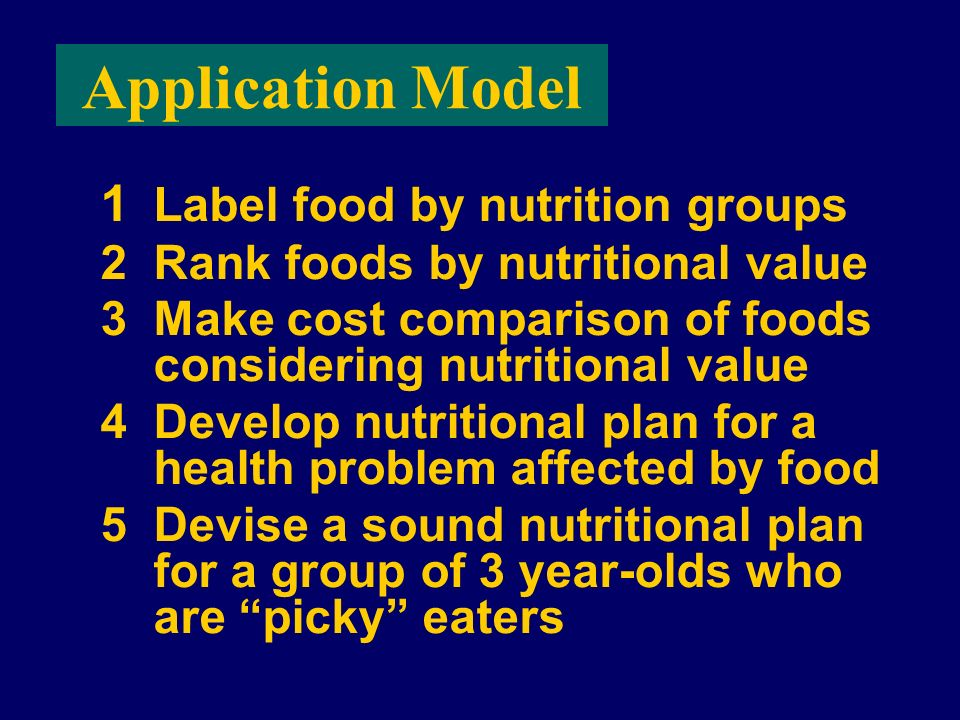 Application Model 1 Label food by nutrition groups 2Rank foods by nutritional value 3Make cost comparison of foods considering nutritional value 4Deve