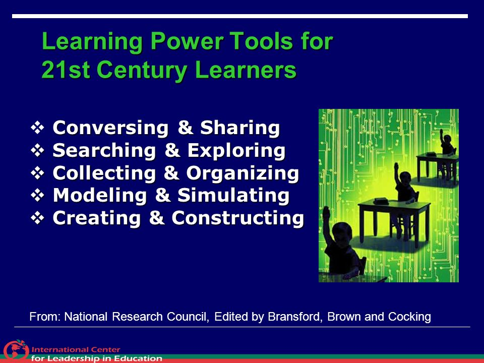 Learning Power Tools for 21st Century Learners Conversing & Sharing Searching & Exploring Searching & Exploring Collecting & Organizing Collecting & O