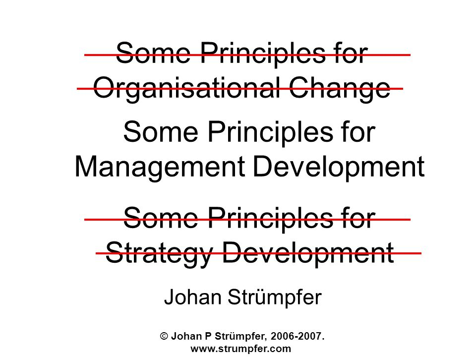 Some Principles for Organisational Change Johan Strümpfer © Johan P Strümpfer,