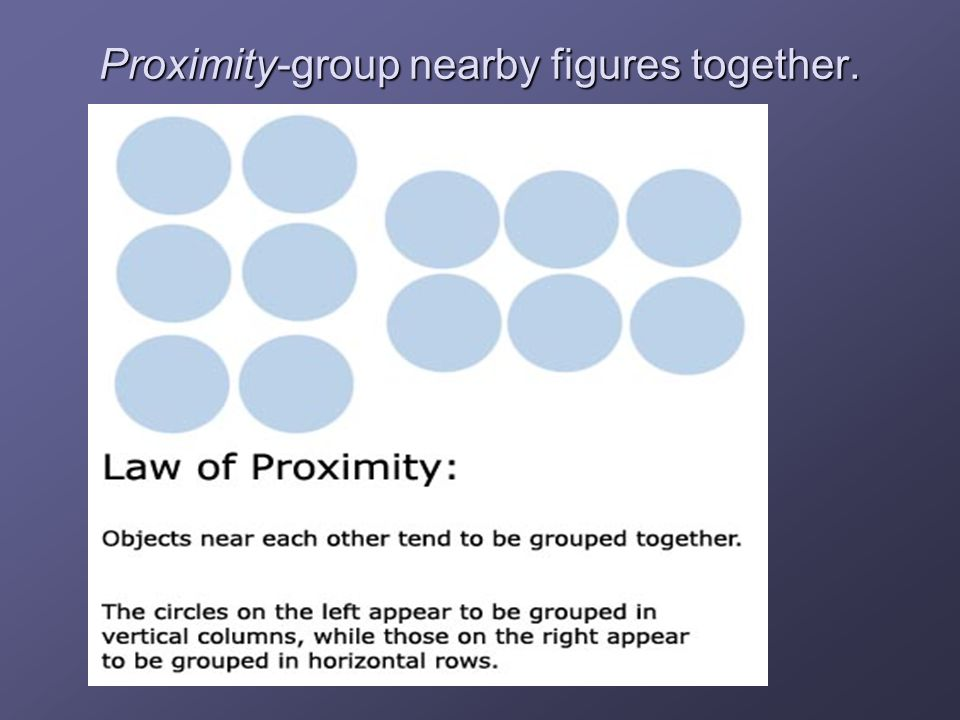 Examples of Grouping Grouping-we organize the figure into a meaningful form so that people can make sense of what they see. Figure & Ground (previous