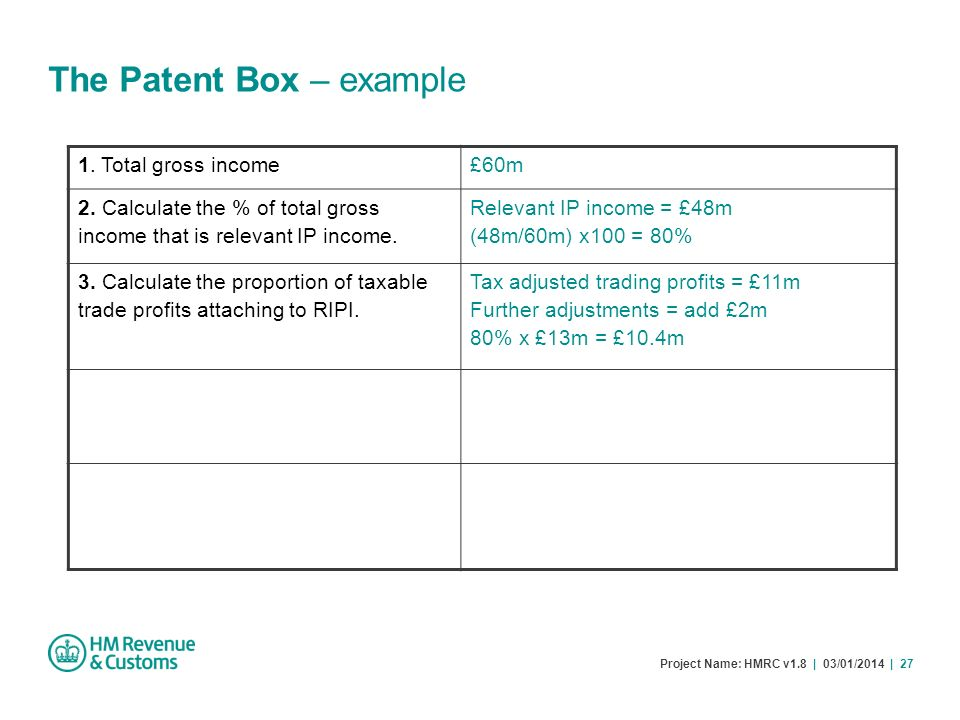 Project Name: HMRC v1.8 | 03/01/2014 | 27 The Patent Box – example 1. Total gross income£60m 2. Calculate the % of total gross income that is relevant