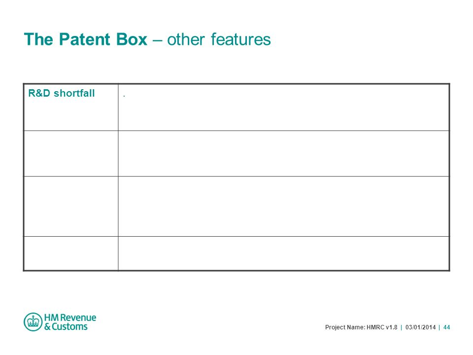 Project Name: HMRC v1.8 | 03/01/2014 | 44 The Patent Box – other features R&D shortfall.