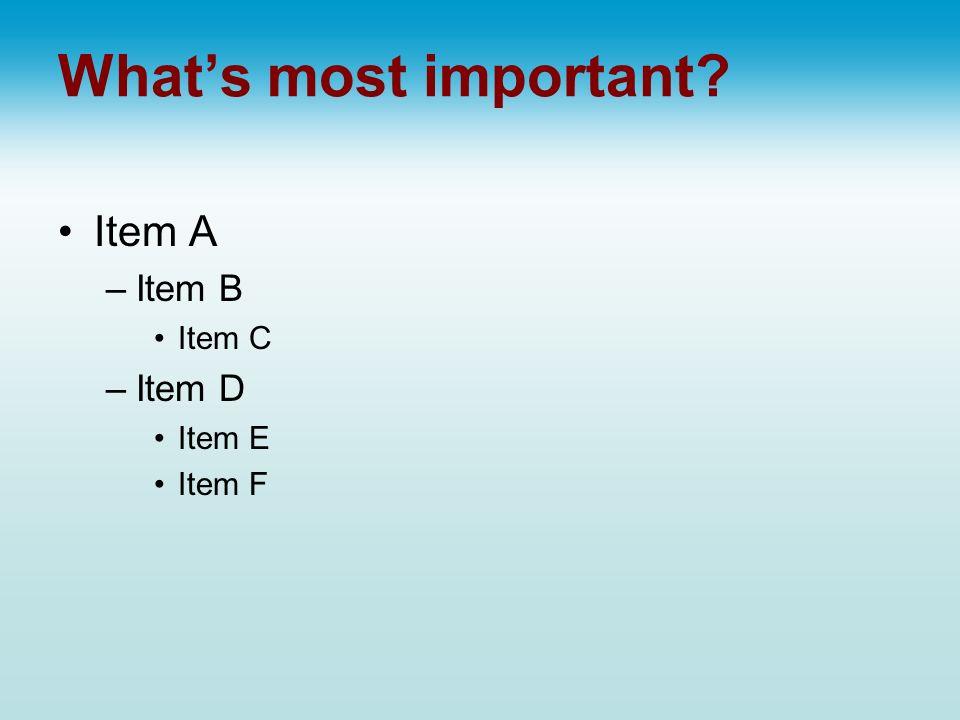 Whats most important Item A –Item B Item C –Item D Item E Item F