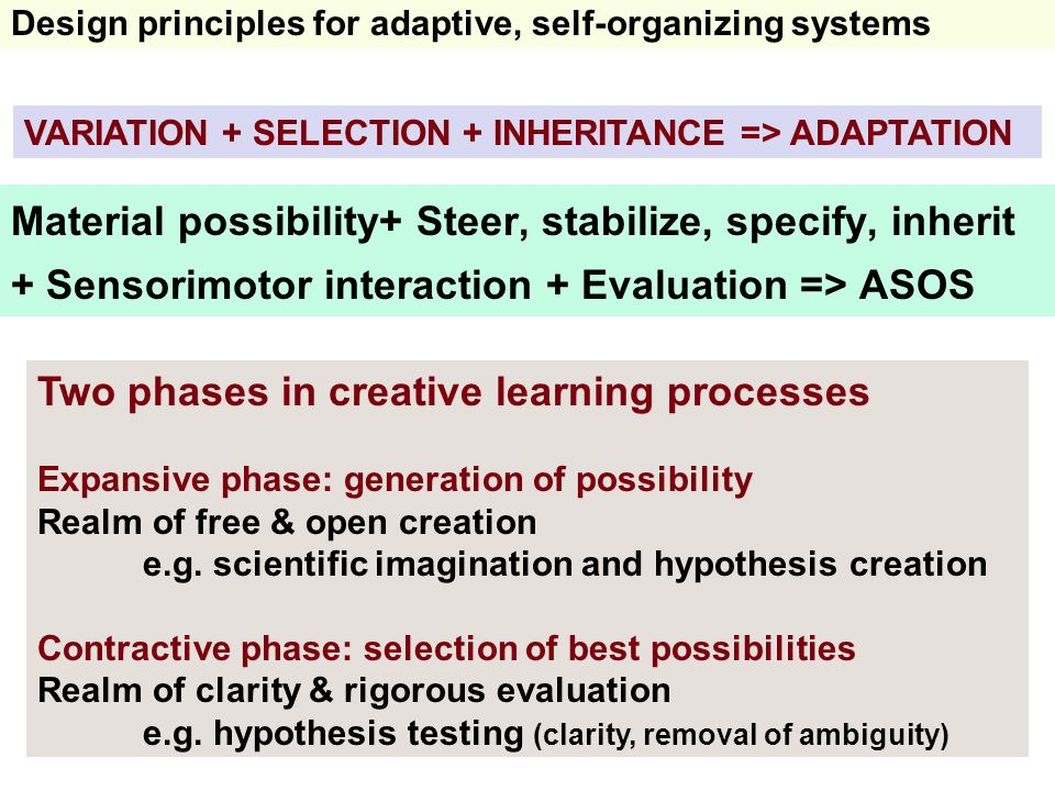 Material possibility+ Steer, stabilize, specify, inherit + Sensorimotor interaction + Evaluation => ASOS Design principles for adaptive, self-organizi