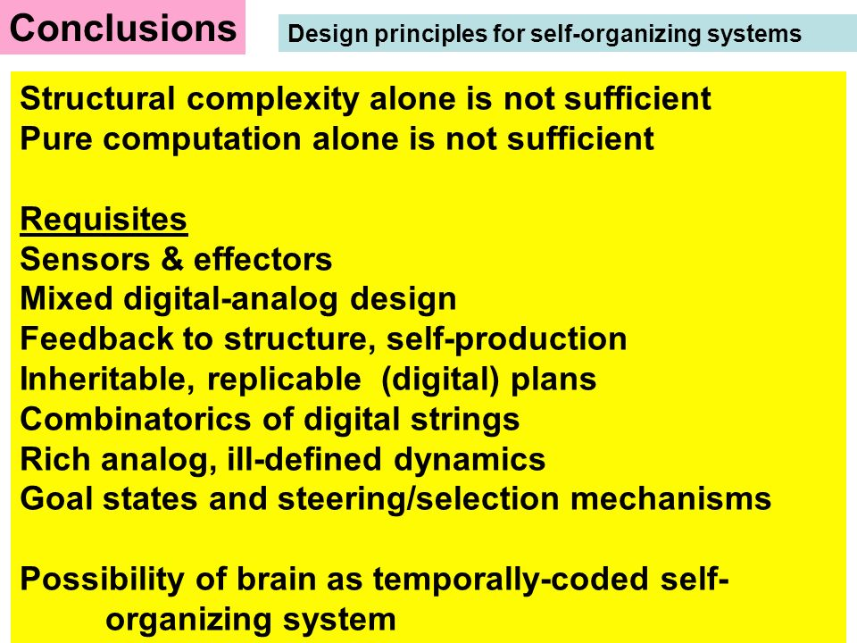 Structural complexity alone is not sufficient Pure computation alone is not sufficient Requisites Sensors & effectors Mixed digital-analog design Feed
