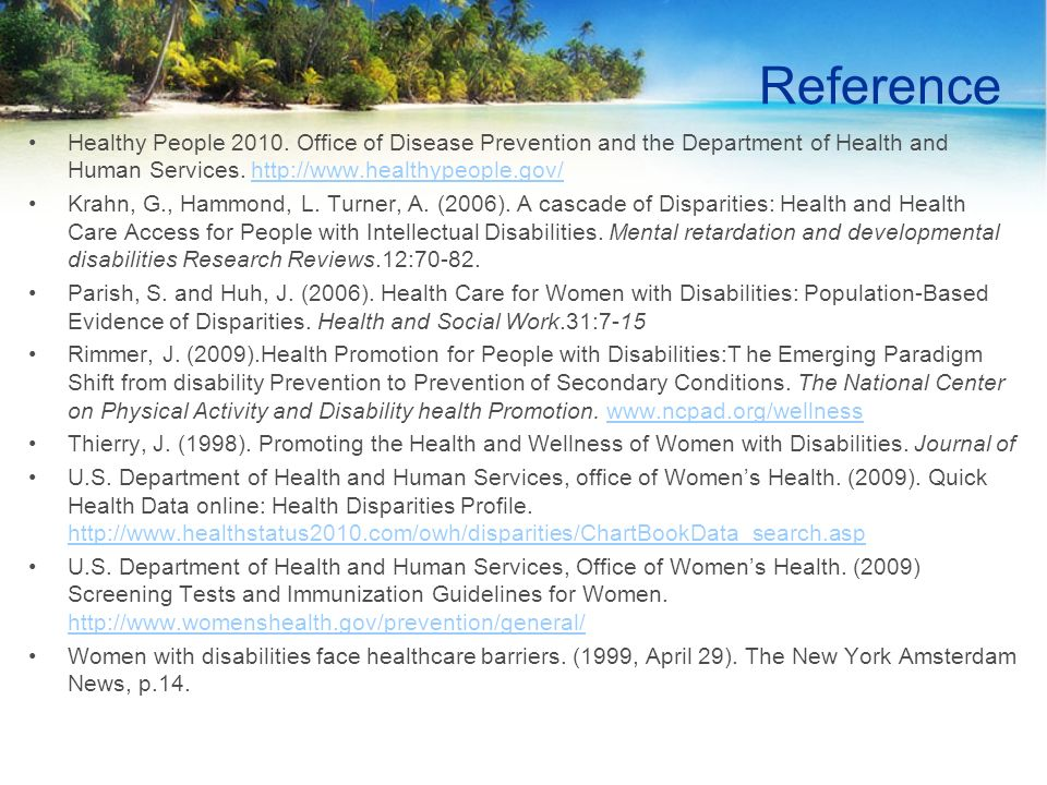 Reference Healthy People 2010.