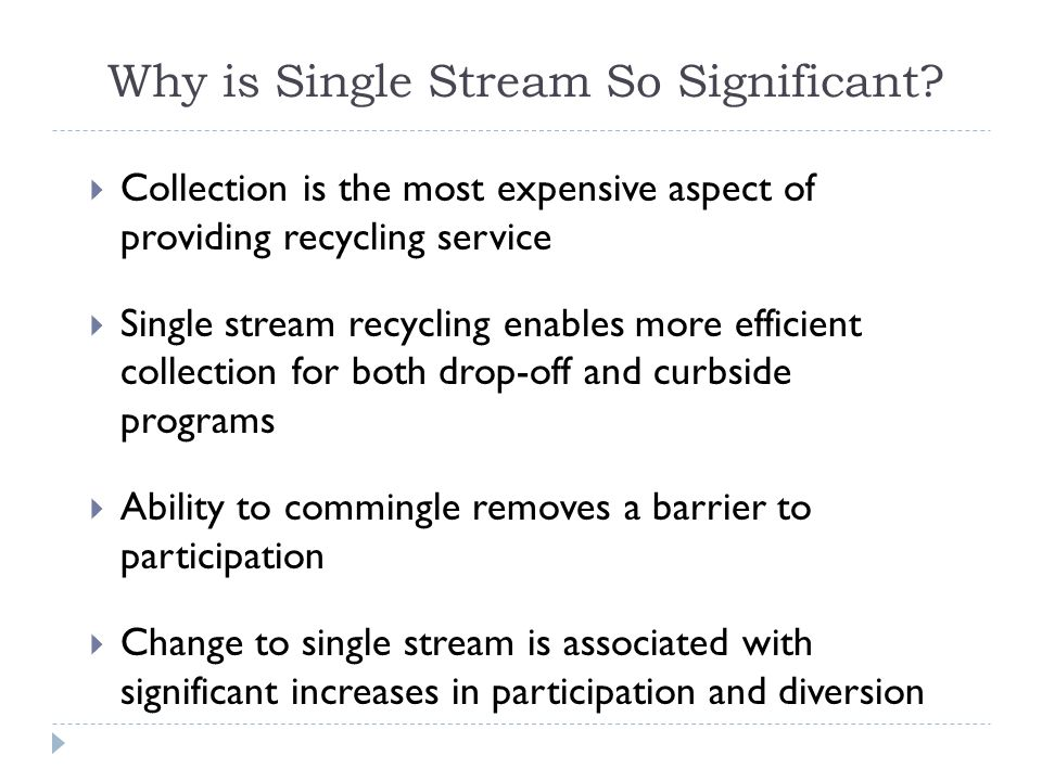 Why is Single Stream So Significant.