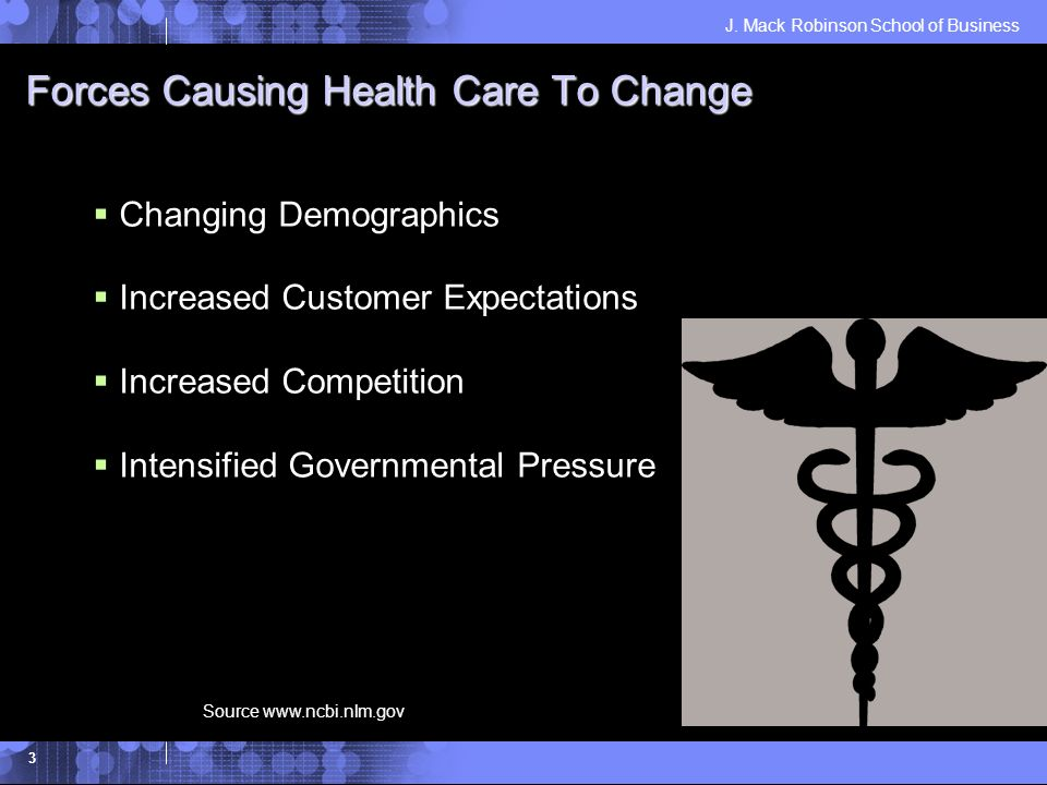 J. Mack Robinson School of Business 3 Forces Causing Health Care To Change Changing Demographics Increased Customer Expectations Increased Competition