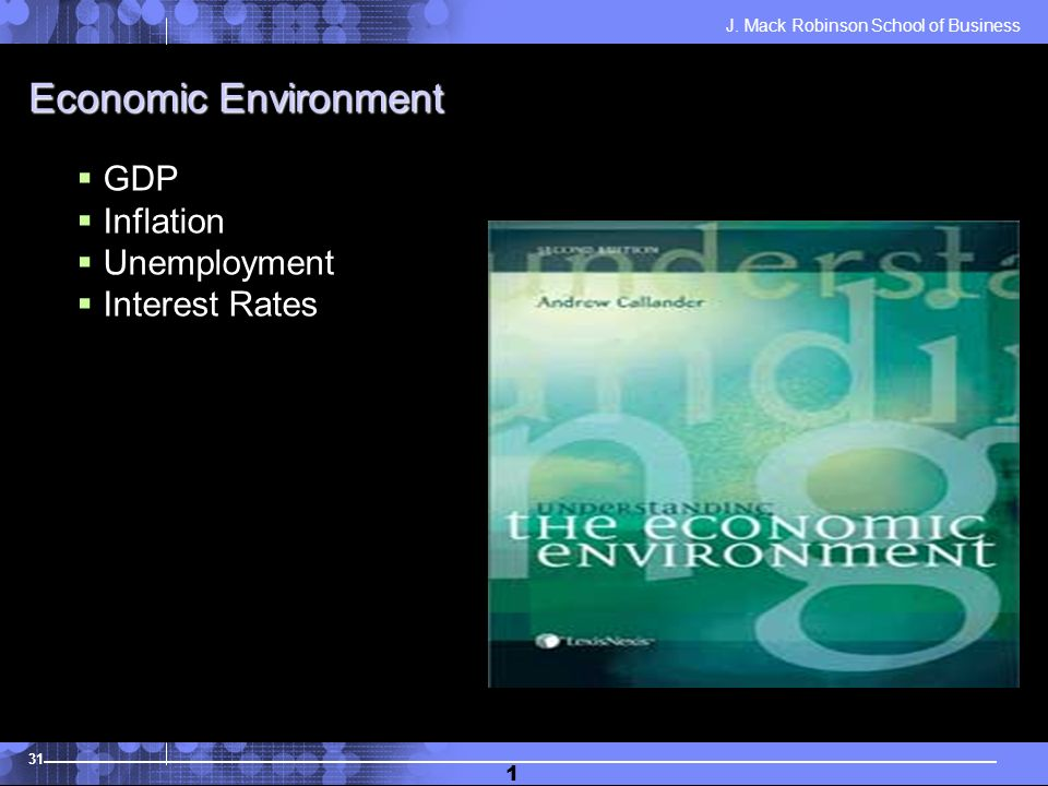 J. Mack Robinson School of Business 31 1 Economic Environment GDP Inflation Unemployment Interest Rates