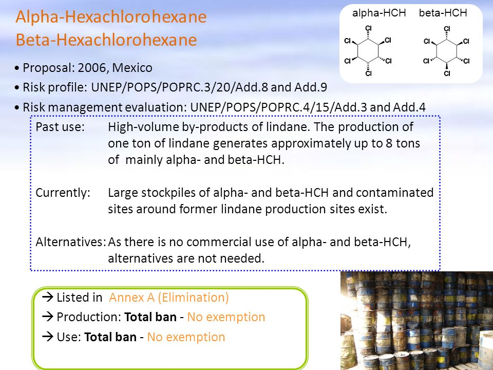 Listed in Annex A (Elimination) Production: Total ban - No exemption Use: Total ban - No exemption alpha-HCH beta-HCH Alpha-Hexachlorohexane Beta-Hexachlorohexane Proposal: 2006, Mexico Risk profile: UNEP/POPS/POPRC.3/20/Add.8 and Add.9 Risk management evaluation: UNEP/POPS/POPRC.4/15/Add.3 and Add.4 Past use:High-volume by-products of lindane.