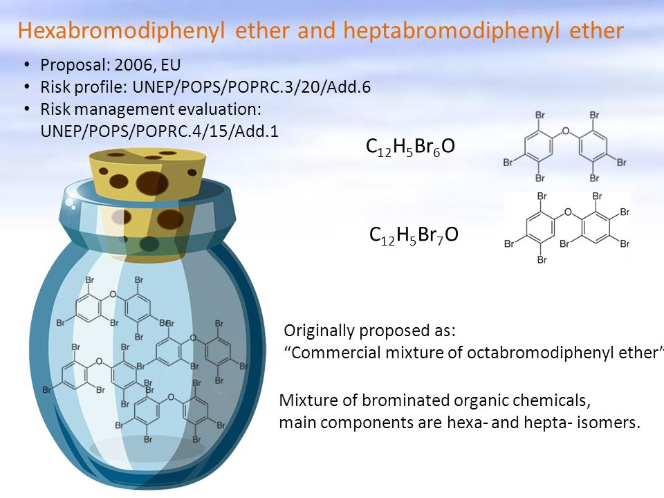 Hexabromodiphenyl ether and heptabromodiphenyl ether Originally proposed as: Commercial mixture of octabromodiphenyl ether Mixture of brominated organ