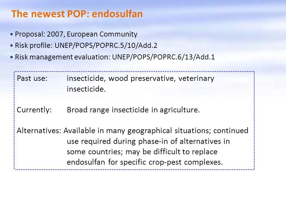 The newest POP: endosulfan Proposal: 2007, European Community Risk profile: UNEP/POPS/POPRC.5/10/Add.2 Risk management evaluation: UNEP/POPS/POPRC.6/1