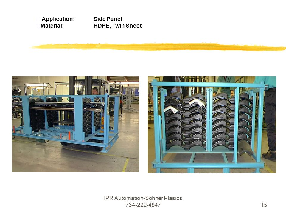 IPR Automation-Sohner Plasics  Application:Side Panel Material:HDPE, Twin Sheet
