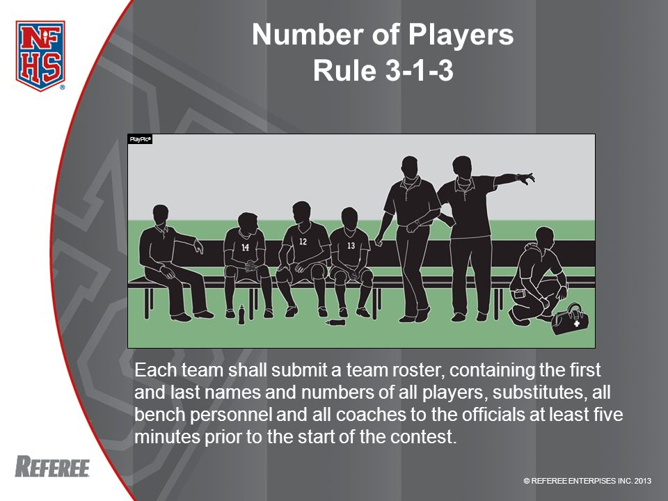 © REFEREE ENTERPISES INC. 2013 RULE CHANGE Number of Players Rule 3-1-3 Each team shall submit a team roster, containing the first and last names and