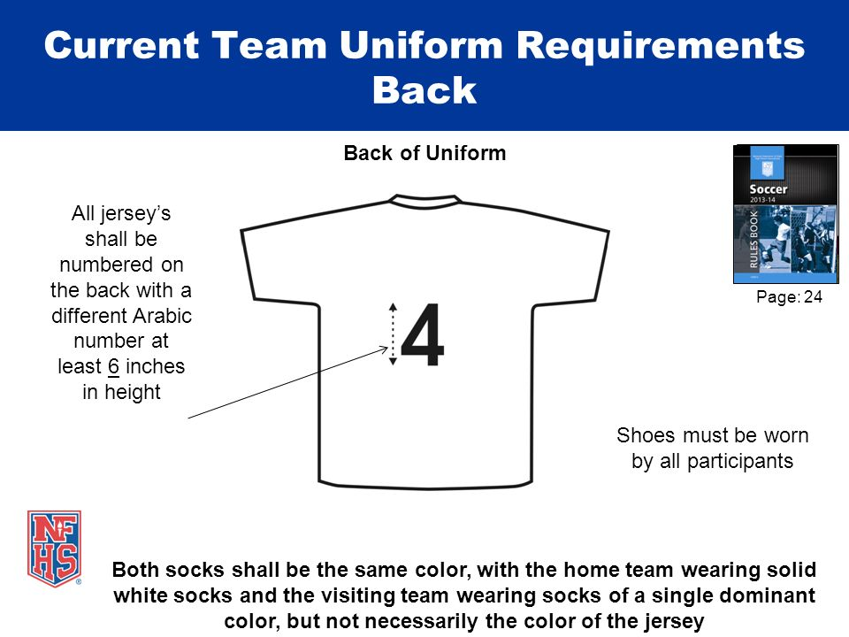 Shoes must be worn by all participants Back of Uniform Current Team Uniform Requirements Back All jerseys shall be numbered on the back with a differe